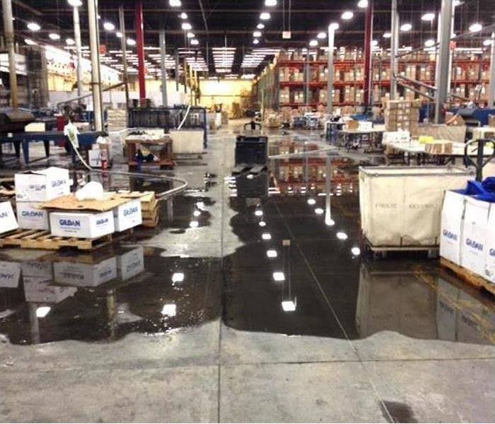Commercial warehouse suffering from flood and water damage