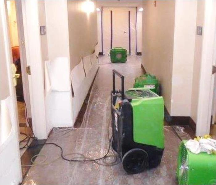 restoration equipment during a large commercial water damage loss