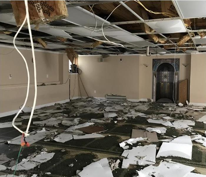 severe storm and water damage to commercial building and interior