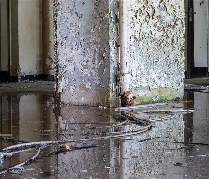 Flooded commercial building with bad structural damages including chipped paint